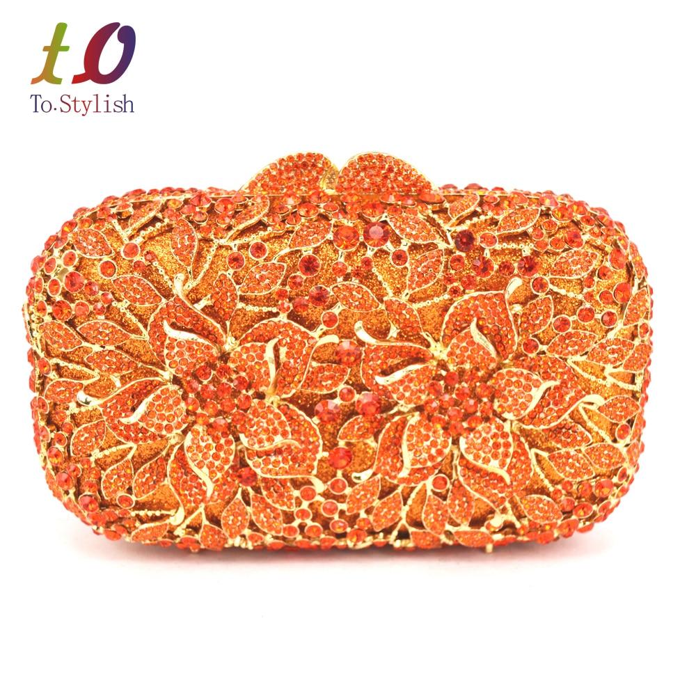 newest Orange Crystal Clutch Bag Flower Female Evening Bag Diamond Studded  Handbags Women Wedding Bridal Party Prom Purse SC437 free shipping worldwide 9341d9fe5607