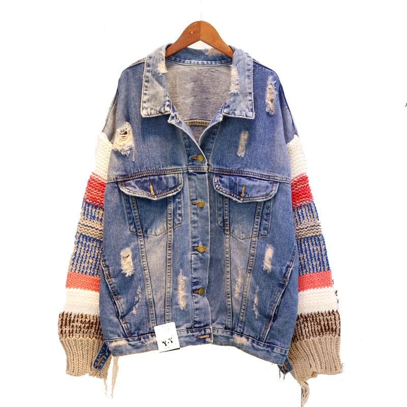 Vintage Automne Spliced Denim Blue Mode Veste Chandail Femelle De Blue D'hiver Harajuku Streetwear Manteau Manches Deep light Jean Trous Femmes 0PRH0ZcW