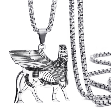 Assyrian lamassu A edu Human-headed winged bull Mens Womens Stainless Steel Pendant Necklace Chain Elfasio Jewelry