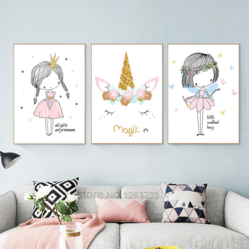 HTB1mcoOAfiSBuNkSnhJq6zDcpXaw Nordic Babykamer Poster Cute Baby Girl Room Decor Cuadros Decoracion Salon Girls Canvas Art Painting Posters And Prints Unframed
