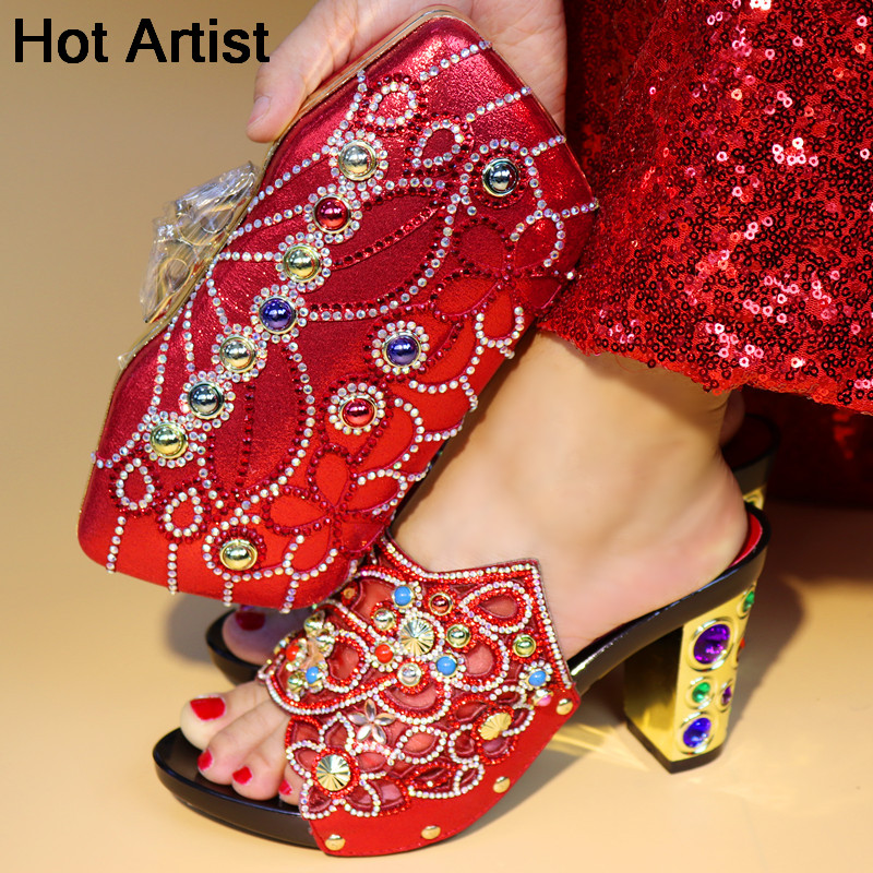 Hot Artist Italian Design Shoes With Matching Bag Set For Wedding African Style Rhinestone High Heels Shoes And Bag Set TX-998