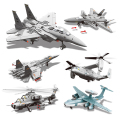 Military Model Building Kits Army DIY Blocks J-15 WZ10 J-20 F-15 V-22 Fighter Airplane Aircraft Model Gift  For Children