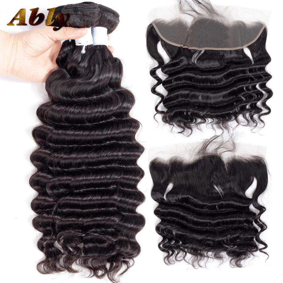 Malaysian Loose Deep Wave Bundles With Frontal Ably 100% Remy Human Hair Weft Weave Bundles Lace Frontal Closure With Bundles