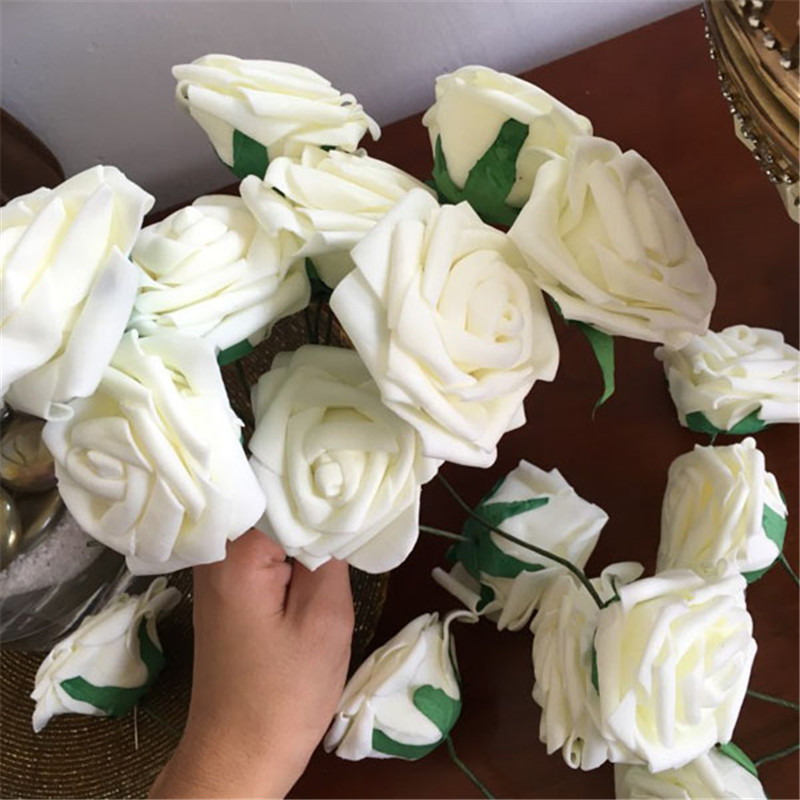 Artificial Flower Wedding Centerpieces: 10 Heads 8CM Artificial Rose Flowers Wedding Decorations