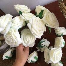 10 cabezas de flores de Rosa artificiales de 8CM, decoraciones para boda, Bola de flores de seda, centros de mesa, flor colgante decorativo de menta