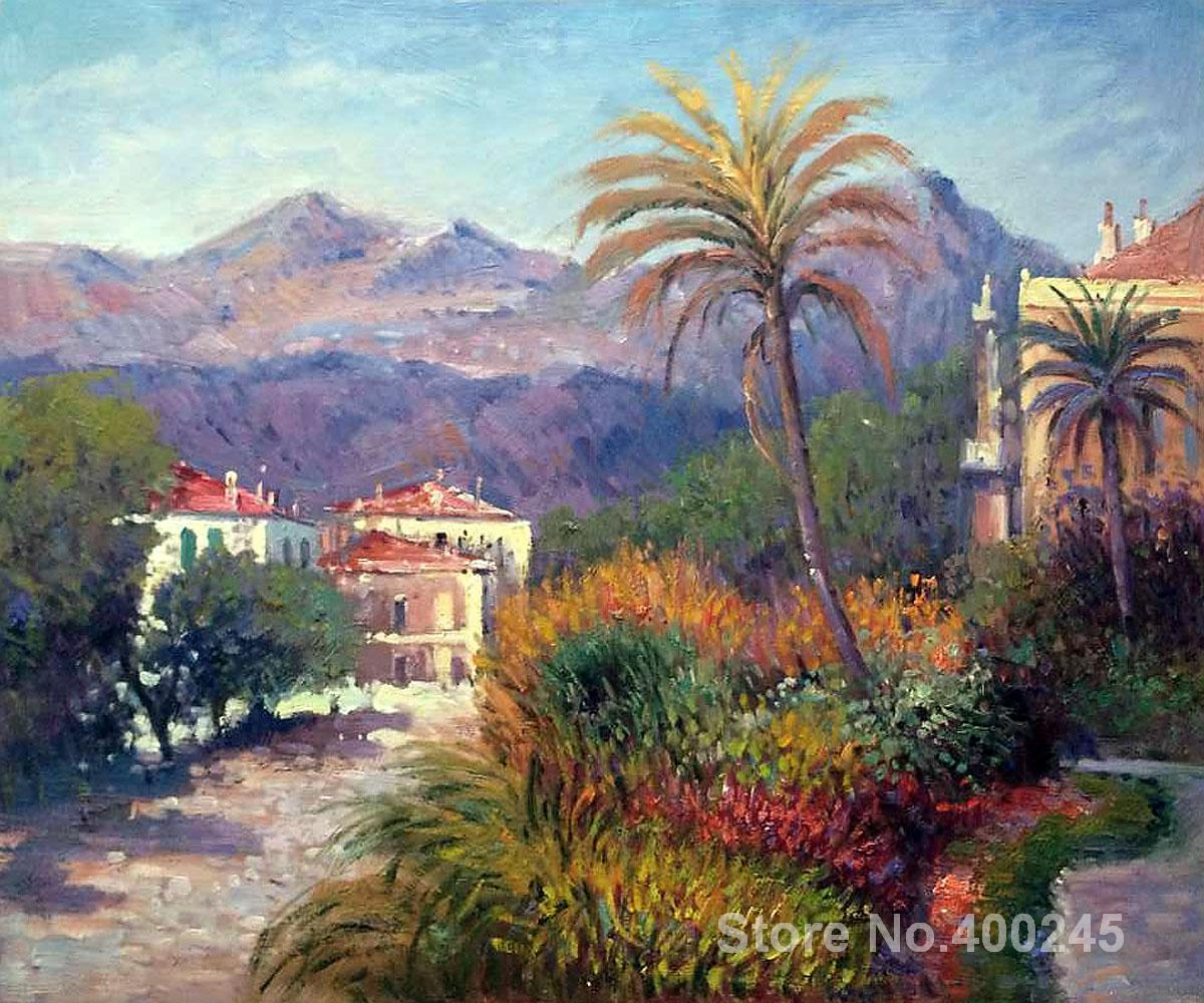 Christmas Gift art on Canvas Strada Romada in Bordighera by Claude Monet Painting High Quality Handmade
