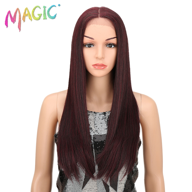 MAGIC Lace Front Wig 28 Inch Long Straight Black Red Ombre Blonde African  American Synthetic Lace Front And T Part Wig For Women a5ffee59f09e