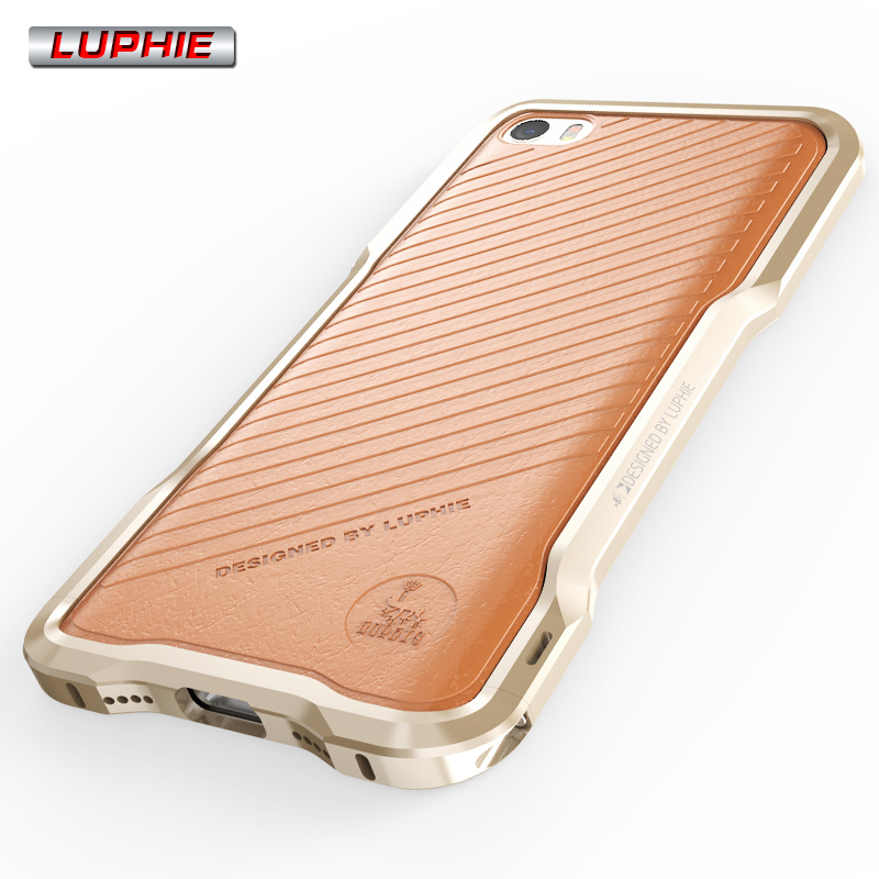 Luphie Luxury Aluminum Metal Frame Genuine Leather Protective Back Cover Strip Case For Xiaomi 5 Mi5