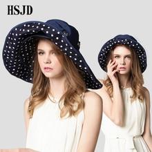 Ladies Summer New Detachable Large Wide Brim Foldable Sun Hat Cotton Breathable Multifunction anti-UV Beach hat Women Travel Cap