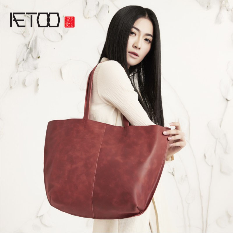 AETOO High-grade original handmade leather in commoner cotton and linen art shoulder bag retro simple Jane female shoulder bag