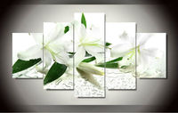 White Lily Flower Wall Art Picture For Home Decoration Living Room Canvas Prints Modern Lilium Painting Unframed 5 Pieces
