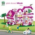 Pink Dream Villa Building Blocks Set 726 Unids 6 Figuras de Juguete modelo de construcción de juguete ladrillos juguetes para niñas sluban compatible con lego