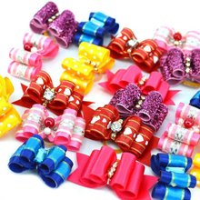 10pcs Cute&Funny Colorful Puppy Pet Dog Rhinestone Hair Bow Rubber Bands Grooming Clip Accessories Pets hair Decoration