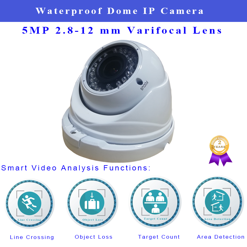 Infrared IP Camera 5MP H.265 Waterproof Dome Supports Onvif POE 2.8-12mm Varifocal Lens For Security Camera Surveillance System