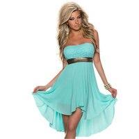 Strapless Chiffon Summer Women Dress High Low Irregular Hem 2015 New Elegant Fashion Sexy Party Dress