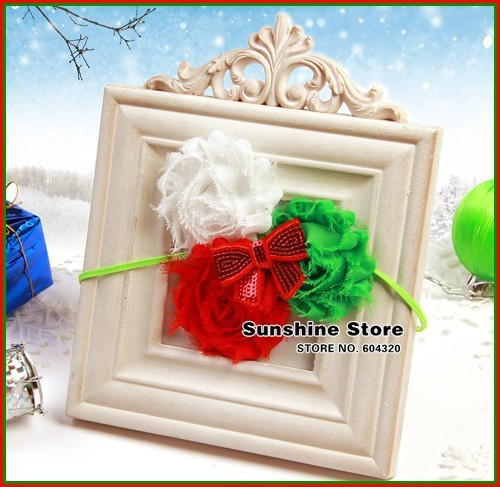 Sunshine store #2B2282  10pcs/lot(green red white)baby headband girls shabby flower Sequins bow headband Christmas headwear CPAM