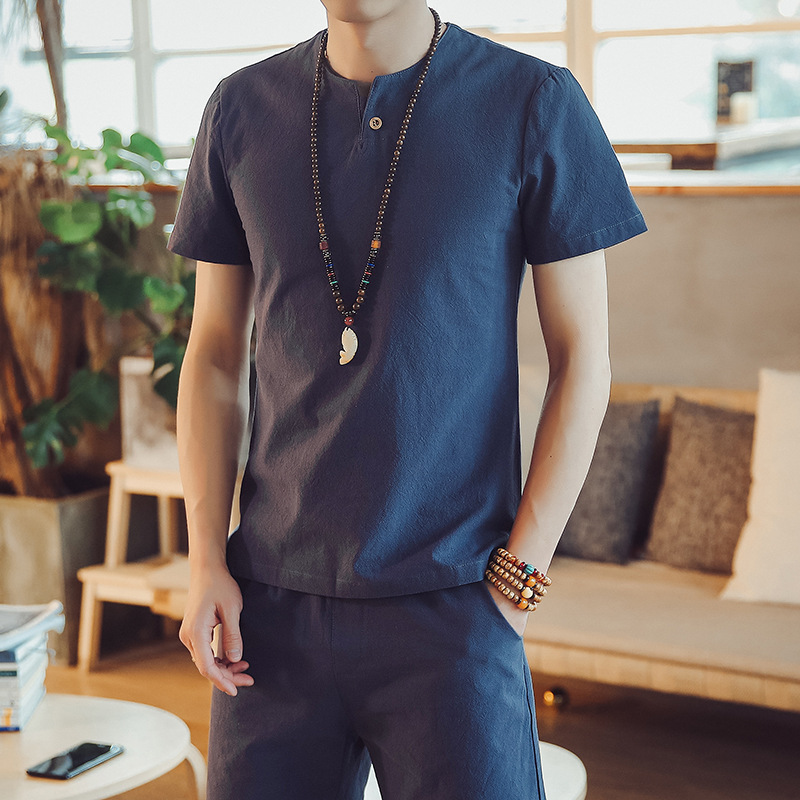 Chinese Style Breathable Summer Shirts Men Cotton Linen Short Sleeve Casuals Men Dropshipping Hot Sale Shirt Plus Size 5XL