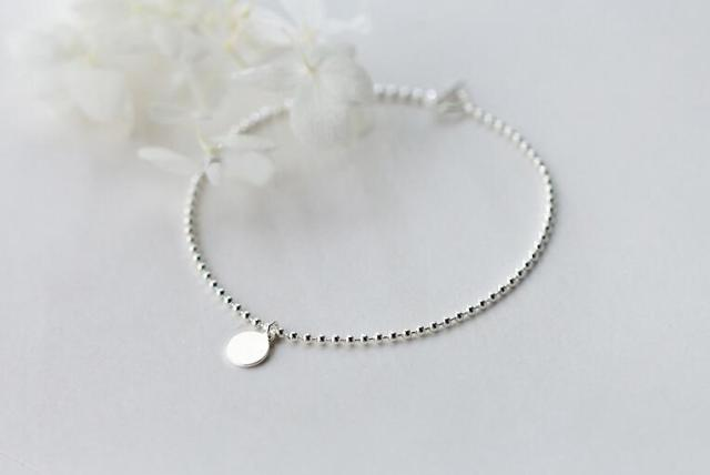 1pc 21cm 100% Real. 925 Sterling Silver Fine Jewelry Polished Coin Round Beads Chain Anklet  Bracelet  GTLS584