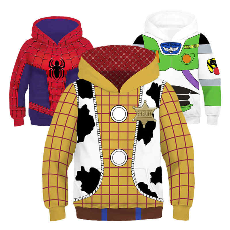 Толстовки с капюшоном для мальчиков «Базз Лайтер» Толстовки Вуди из «Истории игрушек» детские топы с 3D-принтом «Человек-паук», «Железный человек», «супергерой»