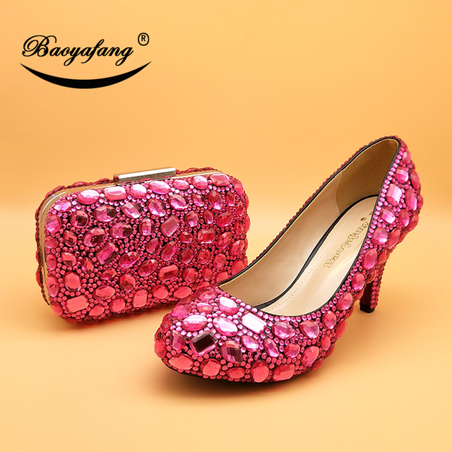 Fuchsia Crystal Wedding Shoes With Purse | High Heel Wedding Shoes