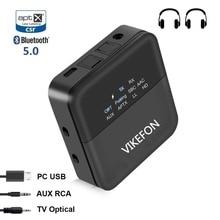 Bluetooth 5.0 nadajnik i odbiornik Audio i automatyczne na Adapter do TV/samochód SPDIF/3.5mm i ekran wyświetlacza aptX HD, aptX LL, krótki czas oczekiwania