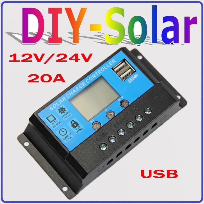 20A LCD dual USB Solar Charge Controller output 5V Mobile Charger 12/24V Solar Panel Battery Charge Controller Regulator 20 Amps diy 5v 2a voltage regulator junction box solar panel charger special kit