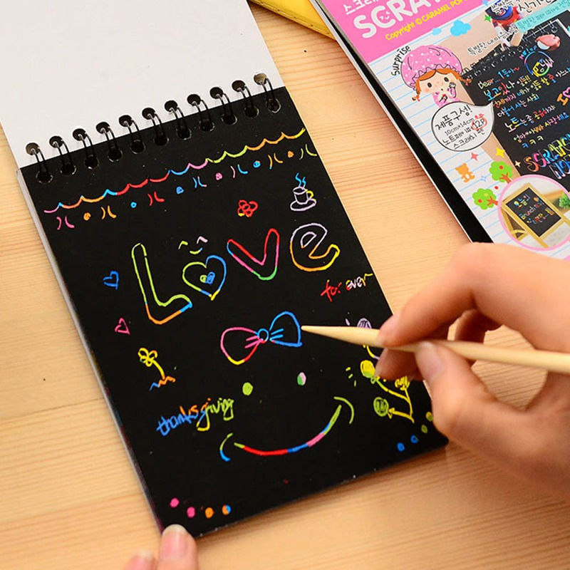Creative Mini Color Cute Coil Graffiti Notebook Black Page Magic Drawing Book Painting Notepad For Kids Notepad Stationery Gift