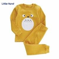 Girsl Jungen Pyjamas Sets Baby Kleinkind Kleidung Set Kinder Katze Cartoon Baumwolle Nachtwäsche Tops + Pants schlafanzüge Nachtwäsche 2 T-5 T Gelb