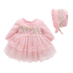 Осеннее кружевное платье с длинным рукавом и вышивкой для новорожденных девочек праздвечерние чные платья принцессы хлопковая одежда для ...