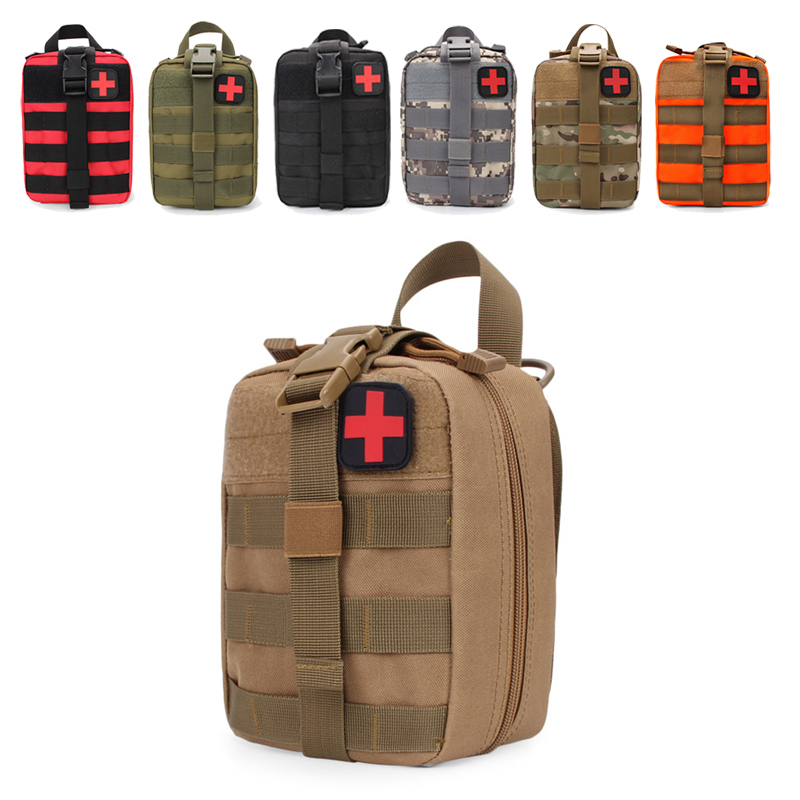 Outdoor Hiking Camping Hunting Army Military Patch Bag Sports Molle Waist Medical Package Pack Tactical First Aid Storage Bag Climbing Bags     - title=