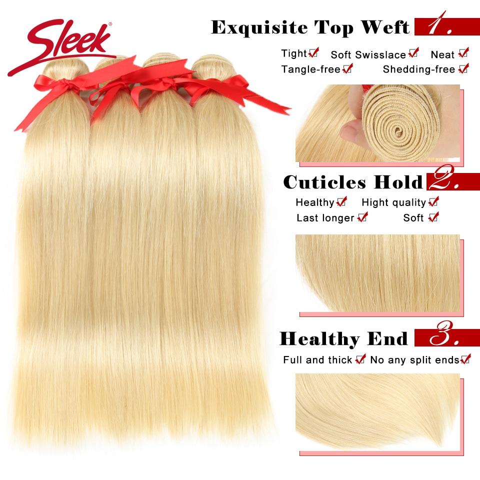 Sleek Mink Brazilian Hair Weave Bundles 10 To 26 Inches Hair Extension Honey Blonde Straight 613# Color Remy Hair Bundles