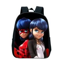 Купить с кэшбэком 12 Inch Anime Cartoon Miraculous Ladybug School Backpack For Kids Kindergarten Bookbags Zipper Travel Bags Kids Mochila Custom
