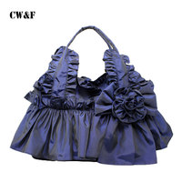 2016 Spring And Summer Fashion Casual Wave Of Female Hand Bag Lady Cloth Lace Bow Portable