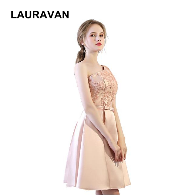 woman cheap short sexy one shoulder satin simple pale pink   bridesmaid     dresses   party   dress   elegant xl 2019 new arrival ball gown