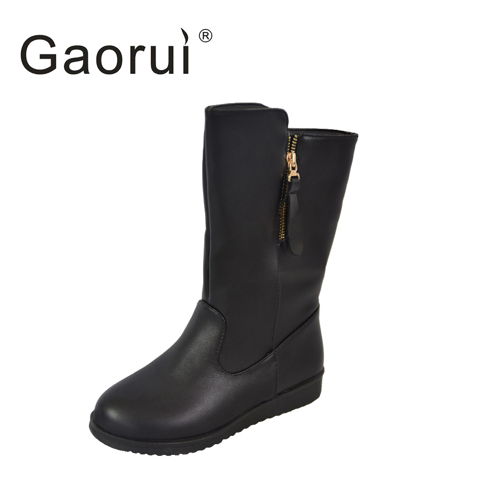 2016 PU Leather Women Boots Winter Mid-calf Boots Fashion Casual Martin Boots Plush Ladies Black High Snow Boots for Woman рюкзак case logic 17 3 prevailer black prev217blk mid
