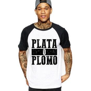 2018 nueva Plata o Plomo Narcos Pablo Escobar Plata O Plomo ali camiseta  negro Steampunk camisa o cuello Anime ali hombres camisa Polyest b5596f1f9c0