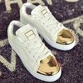 2017 Primavera Nuevas Señoras de La Manera Ocasional de Las Mujeres de Teenages Femenino Pisos Lienzo Cordón Zapatos Caminando Zapatos Chaussures G563