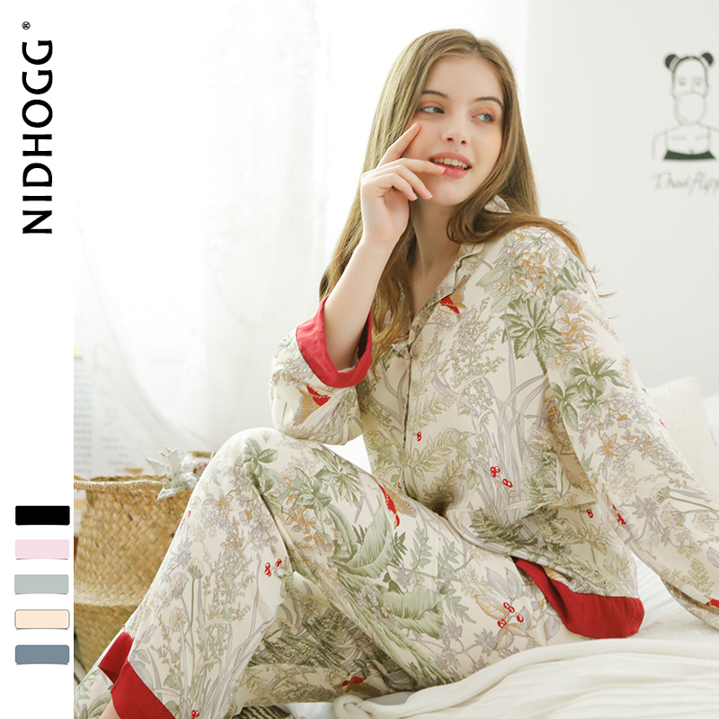Image 2 - Spring New Casual Long Sleeve Satin Pajama Set Green Grass Printing Sleepwear Loungewear Women Turn down Collar Pijama Mujer-in Pajama Sets from Underwear & Sleepwears