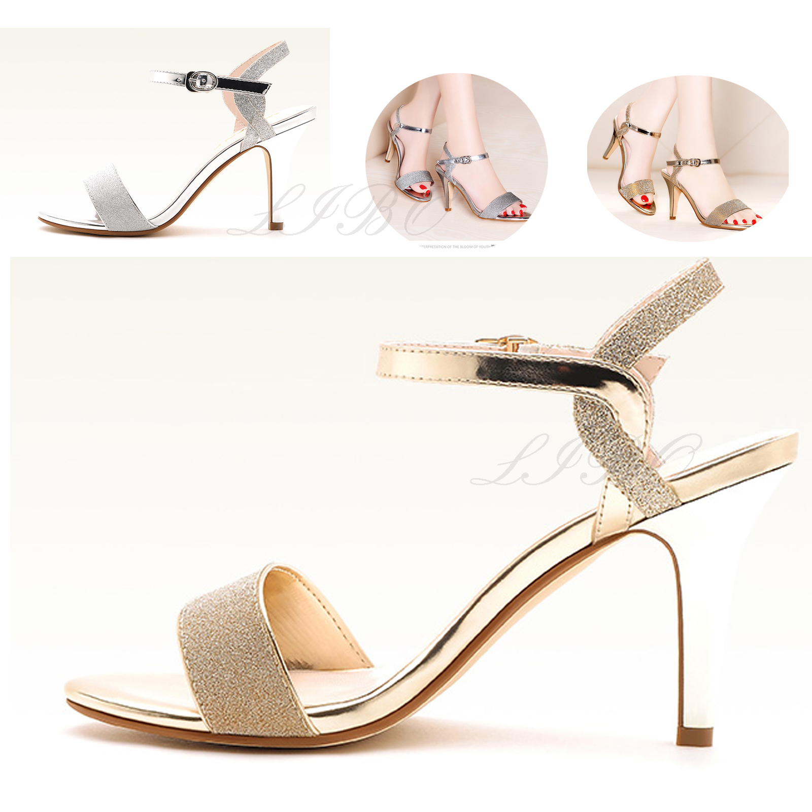 f6418df4f6c6 Women Party Sandals Summer Thin Women s Sandals High Heels Shoes High Heel  Sandalias Silver Gold Women s Dress Shoes
