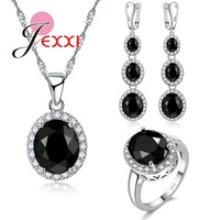 JEXXI Black Fashion Jewelry Clear Crystal Necklace Ring Earrings Set For Women Wedding Engagement Sterling Silver