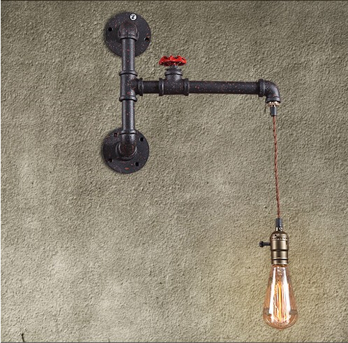 Metal Water Pipe Loft Style Creative Edison Wall Light Industrial Vintage Wall Lamp Fixtures For Bar Home Indoor Lighting
