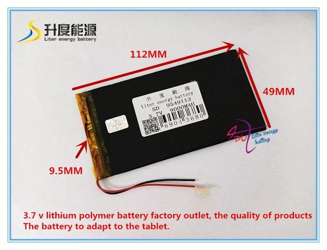SD 9549112 de iões de lítio Polímero de 3.7 V 9000 mAH/Li-ion bateria para o banco de potência, tablet pc, GPS, DVD, mp4, mp3, brinquedos
