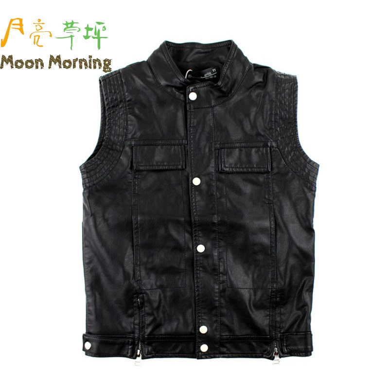 Moon Morning Spring Autumn Kids Vest Faux Leather ...