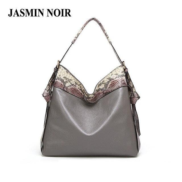 Women's PU Snake Leather Handbags 2017 New Shoulder Bag for Ladies Large capacity Brand Designer Panelled Spring Crossbody Bag