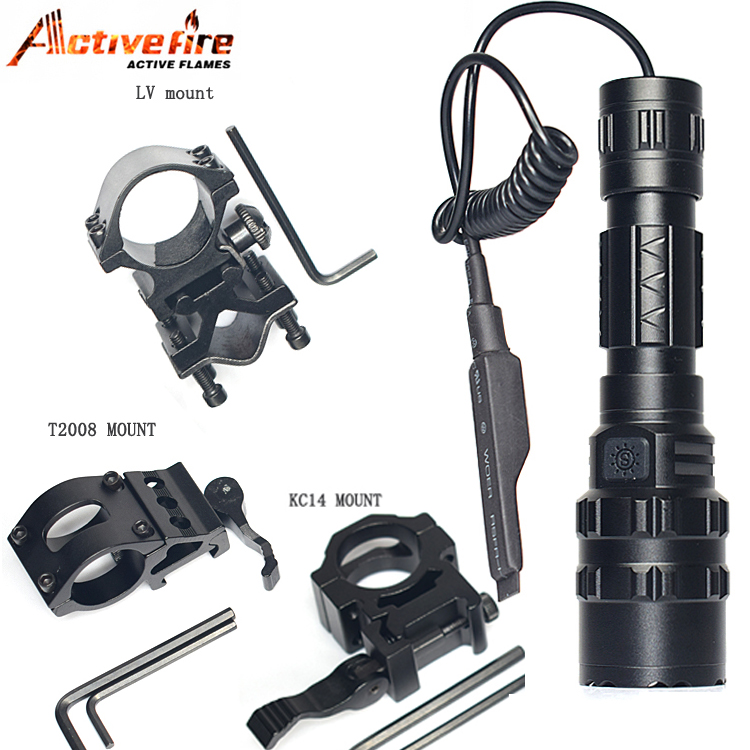 CREE T6 LED 3800LM Tactical torch Gun Mount+Remote Switch for Tactical Hunting Flashlight for Hunting Rifle Torch lighting Shot hot 502b 900lm q5 cree red light led tactical flashlight torch 18650 remote switch rifle mount gun