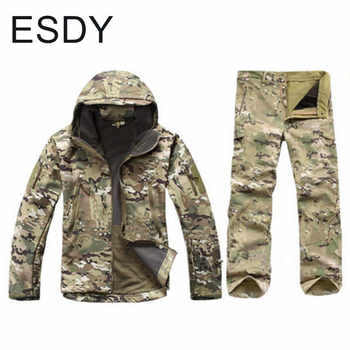 Winter Windproof Thermal Waterproof Soft Shell Jacket + Pants Men Outdoor Climbing Hiking Warm Camouflage Coat Trousers Sets