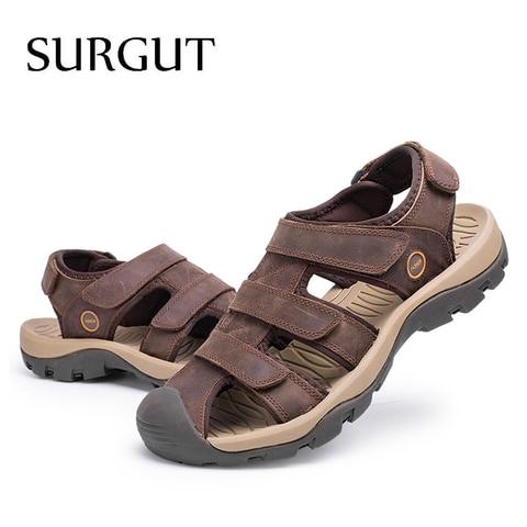 SURGUT Brand New High Quality Men Genuine Leather Sandals Breathable Comfortable Cozy Summer Shoes Fashion Flat Male Sandals Multan