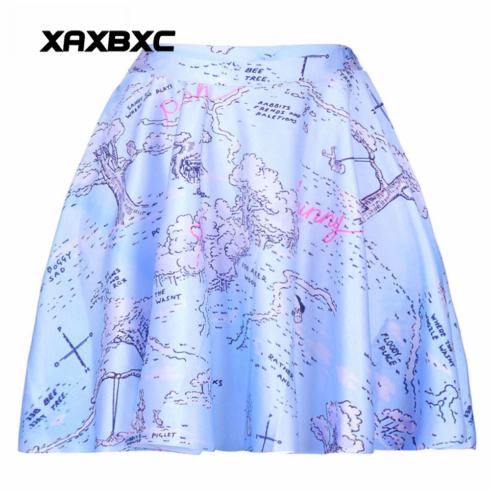 NEW 1077 Summer Sexy Girl Map 100 Acres Tree Printed Cheering Squad Tutu Skater Women Mini Pleated Skirt Plus Size