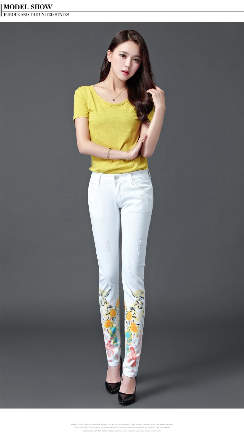 Dongdongta Women Girls White Color Jeans 2017 New Design Summer Original Design Full Length Cotton Mid Waist Skinny Pencil Pants 8