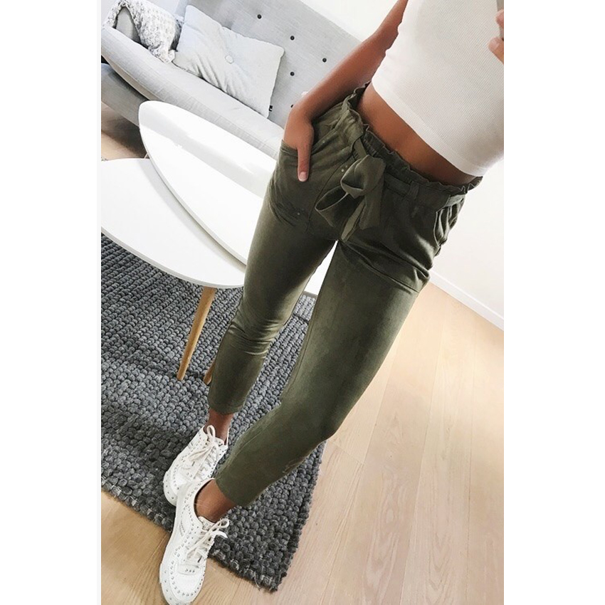 New 2018 fashion winter women suede pants style ladies Leather bottoms female trouser Casual pencil pants high waist trousers 1